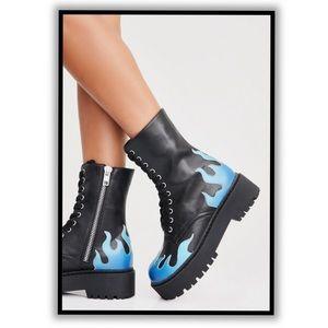 Dolls Kill vegan leather blue flame combat boots